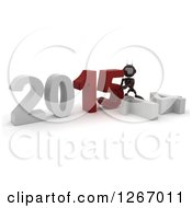 Clipart Of A 3d Red Android Robot Pushing 2015 New Year Together By A Fallen 14 Royalty Free Illustration