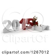 Clipart Of A 3d Reindeer Pushing 2015 New Year Together By A Fallen 14 Royalty Free Illustration