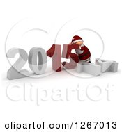 Clipart Of A 3d Santa Pushing 2015 New Year Together By A Fallen 14 Royalty Free Illustration