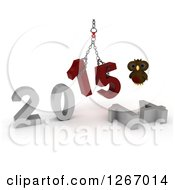 Clipart Of A 3d Owl With A 2014 To New Year 2015 Wrecking Ball Royalty Free Illustration by KJ Pargeter