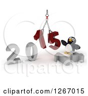 Clipart Of A 3d Penguin With A 2014 To New Year 2015 Wrecking Ball Royalty Free Illustration