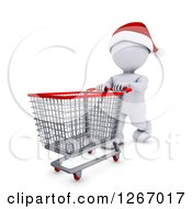 Clipart Of A 3d White Man Christmas Shopping And Pushing An Empty Cart Royalty Free Illustration by KJ Pargeter