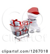 Clipart Of A 3d White Man Christmas Shopping And Pushing A Cart Full Of Gifts Royalty Free Illustration by KJ Pargeter