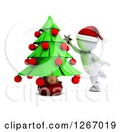 Clipart Of A 3d White Man Decorating A Christmas Tree Royalty Free Illustration