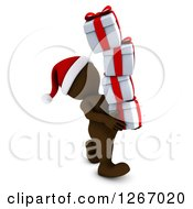 Clipart Of A 3d Brown Man Carrying A Stack Of Christmas Gifts Royalty Free Illustration