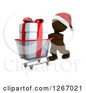 Clipart Of A 3d Brown Man Christmas Shopping And Pushing A Big Gift In A Cart Royalty Free Illustration