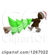 Clipart Of A 3d Brown Man Pulling A Christmas Tree Royalty Free Illustration by KJ Pargeter