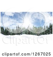 Clipart Of A Background Of Sunshine Over Evergreens In The Snow Royalty Free Illustration