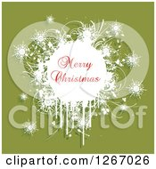Clipart Of A Merry Christmas Greeting Over Grunge Plants And Snowflakes On Green Royalty Free Vector Illustration