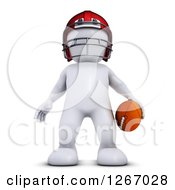 Clipart Of A 3d White Man Standing With A Football Royalty Free Illustration