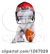 Clipart Of A 3d White Man Crouching With A Football Royalty Free Illustration