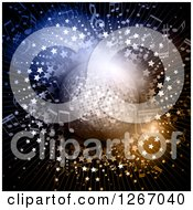 Clipart Of A Disco Ball And Music Notes Over A Star Burst Royalty Free Vector Illustration by KJ Pargeter