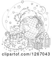 Clipart Of A Black And White Christmas Desk Globe With A Santa Hat Sack And Presents Royalty Free Vector Illustration