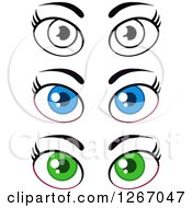 Clipart Of Pairs Of Blue Green And Black And White Female Eyes And Brows Royalty Free Vector Illustration