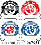 Clipart Of Veterinary Circles Of Silhouetted Dogs In Heart Shaped Paw Prints With Stars And Crosses Over Bones Royalty Free Vector Illustration
