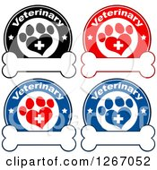 Clipart Of Veterinary Circles Of Crosses In Heart Shaped Paw Prints With Stars Over Bones Royalty Free Vector Illustration
