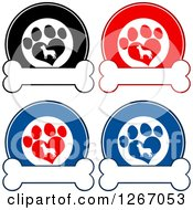 Clipart Of Circles Of Silhouetted Dogs In Heart Shaped Paw Prints Over Bones Royalty Free Vector Illustration