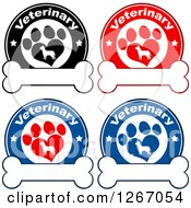 Clipart Of Veterinary Circles Of Silhouetted Dogs In Heart Shaped Paw Prints With Stars Over Bones Royalty Free Vector Illustration