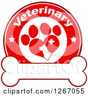 Clipart Of A Red And White Veterinary Circle Of A Silhouetted Dog In A Heart Shaped Paw Print With Stars And A Cross Over A Bone Royalty Free Vector Illustration by Hit Toon