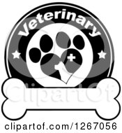 Clipart Of A Black And White Veterinary Circle Of A Silhouetted Dog In A Heart Shaped Paw Print With Stars And A Cross Over A Bone Royalty Free Vector Illustration by Hit Toon
