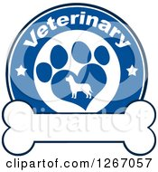 Clipart Of A Blue And White Veterinary Circle Of A Silhouetted Dog In A Heart Shaped Paw Print With Stars Over A Bone Royalty Free Vector Illustration