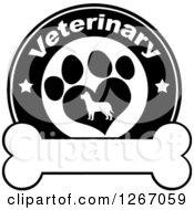 Clipart Of A Black And White Veterinary Circle Of A Silhouetted Dog In A Heart Shaped Paw Print With Stars Over A Bone Royalty Free Vector Illustration