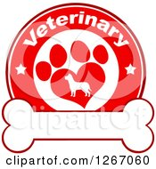 Clipart Of A Red And White Veterinary Circle Of A Silhouetted Dog In A Heart Shaped Paw Print With Stars Over A Bone Royalty Free Vector Illustration