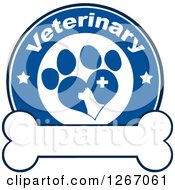 Clipart Of A Blue And White Veterinary Circle Of A Silhouetted Dog In A Heart Shaped Paw Print With Stars And A Cross Over A Bone Royalty Free Vector Illustration
