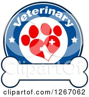 Clipart Of A Blue And White Veterinary Circle Of A Silhouetted Dog In A Red Heart Shaped Paw Print With Stars And A Cross Over A Bone Royalty Free Vector Illustration