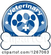 Clipart Of A Blue And White Veterinary Circle Of A Cross In A Heart Shaped Paw Print With Stars Over A Bone Royalty Free Vector Illustration