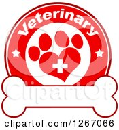 Clipart Of A Red And White Veterinary Circle Of A Cross In A Heart Shaped Paw Print With Stars Over A Bone Royalty Free Vector Illustration