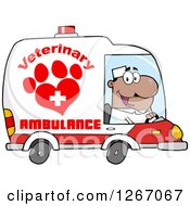 Clipart Of A Happy Black Male Veterinary Pet Ambulance Driver Royalty Free Vector Illustration by Hit Toon