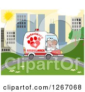 Clipart Of A Happy Black Male Veterinary Pet Ambulance Driver In A City Royalty Free Vector Illustration by Hit Toon