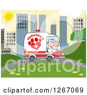 Clipart Of A Happy White Male Veterinary Pet Ambulance Driver In A City Royalty Free Vector Illustration by Hit Toon