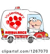 Clipart Of A Happy White Male Veterinary Pet Ambulance Driver Royalty Free Vector Illustration by Hit Toon