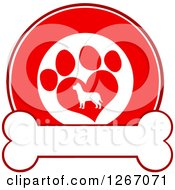 Clipart Of A Red And White Circle Of A Silhouetted Dog In A Heart Shaped Paw Print Over A Bone Royalty Free Vector Illustration