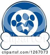 Clipart Of A Blue And White Circle Of A Silhouetted Dog In A Heart Shaped Paw Print Over A Bone Royalty Free Vector Illustration by Hit Toon