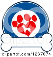 Clipart Of A Blue And White Circle Of A Silhouetted Dog In A Red Heart Shaped Paw Print Over A Bone Royalty Free Vector Illustration