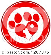Clipart Of A Red And White Circle Of A Dog Head In A Heart Shaped Paw Print With A Veterinary Cross Royalty Free Vector Illustration