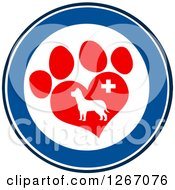 Clipart Of A Blue And White Circle Of A Dog In A Red Heart Shaped Paw Print With A Veterinary Cross Royalty Free Vector Illustration