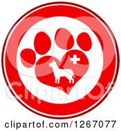 Clipart Of A Red And White Circle Of A Dog In A Heart Shaped Paw Print With A Veterinary Cross Royalty Free Vector Illustration