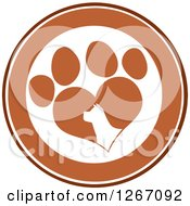 Clipart Of A Brown And White Circle Of A Silhouetted Dog Head In A Heart Shaped Paw Print Royalty Free Vector Illustration by Hit Toon