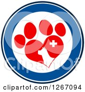 Clipart Of A Blue And White Circle Of A Dog Head In A Red Heart Shaped Paw Print With A Veterinary Cross Royalty Free Vector Illustration