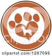 Clipart Of A Brown And White Circle Of A Silhouetted Dog In A Heart Shaped Paw Print Royalty Free Vector Illustration
