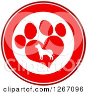 Clipart Of A Red And White Circle Of A Silhouetted Dog In A Heart Shaped Paw Print Royalty Free Vector Illustration by Hit Toon