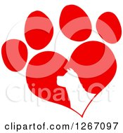 Clipart Of A White Silhouetted Dog Head In A Red Heart Shaped Paw Print Royalty Free Vector Illustration