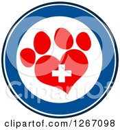 Clipart Of A Blue And White Circle Of A Red Heart Shaped Paw Print And Veterinary Cross Royalty Free Vector Illustration by Hit Toon