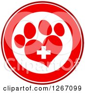 Clipart Of A Red And White Circle Of A Heart Shaped Paw Print And Veterinary Cross Royalty Free Vector Illustration by Hit Toon