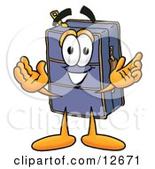 Clipart Picture Of A Suitcase Cartoon Character With Welcoming Open Arms