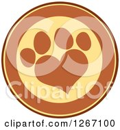 Clipart Of A Brown And Yellow Circle With A Heart Shaped Paw Print Royalty Free Vector Illustration by Hit Toon